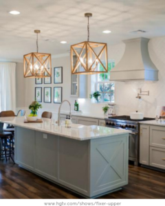 Cozy kitchen with unique hanging lights